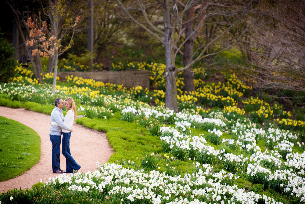 Engagement photo of the bride & groom at the Chicago Botanic Gardens.