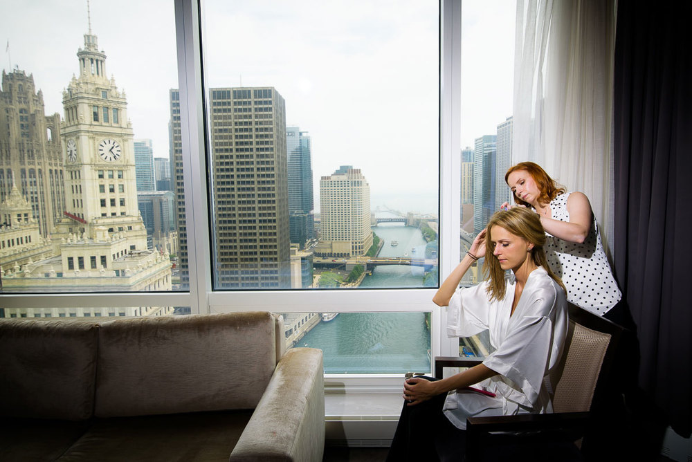 Bride getting ready at the Trump Tower Chicago on her wedding day.