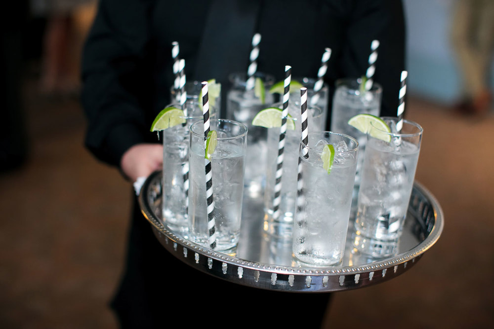 Cocktails served during a wedding at the Harold Washington Library Chicago.