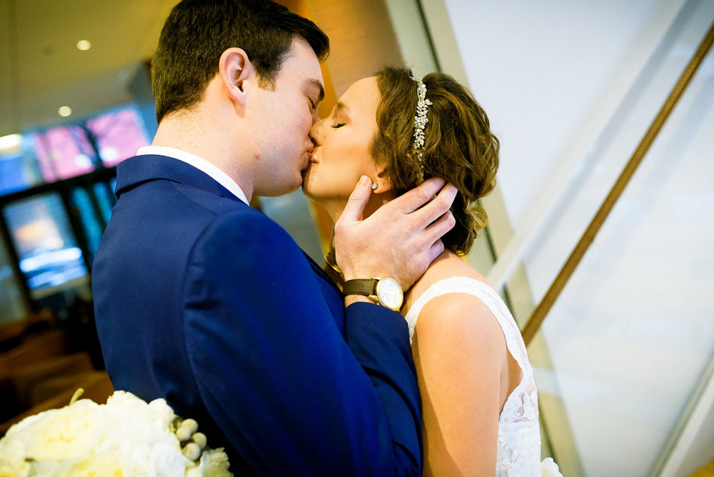 Bride & groom embrace during their first look on their wedding day at the James Hotel Chicago.
