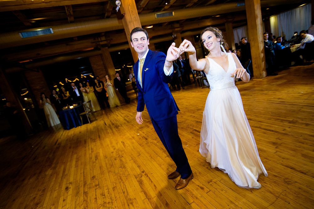 The couple's first dance during their Bridgeport Arts Center wedding.