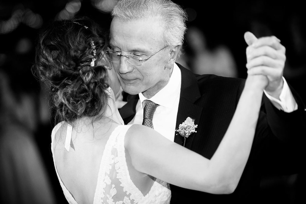 The father-of-the-bride and his daughter dance together at her Bridgeport Arts Center wedding.