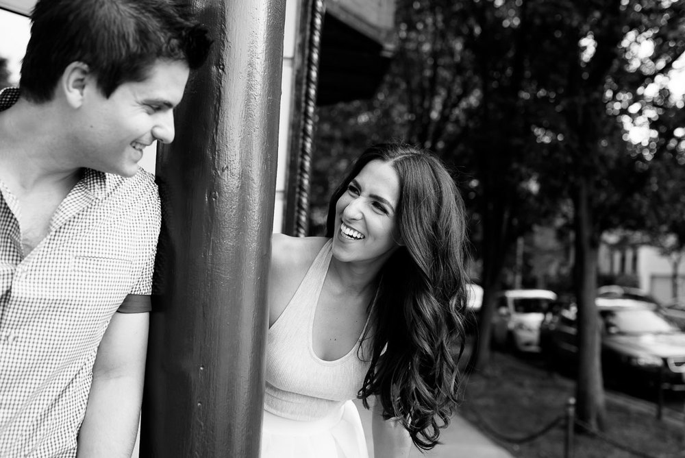 Bride & groom goof off during their Chicago engagement session in Roscoe Village.