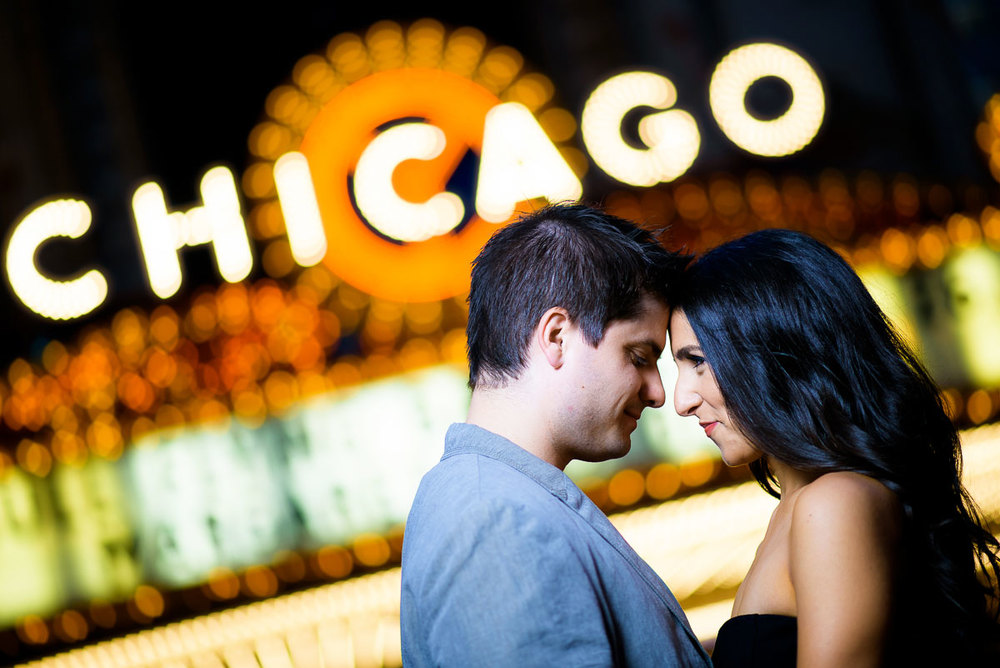 Chicago Theater engagement photos.