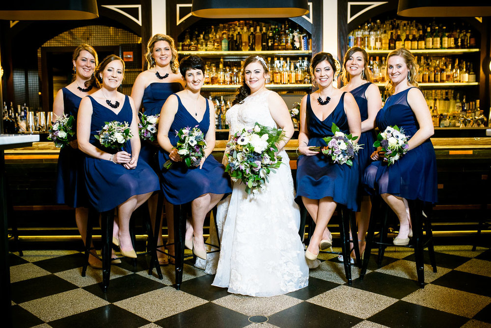 Portrait of the bridesmaids at The Berkshire Room in Chicago.