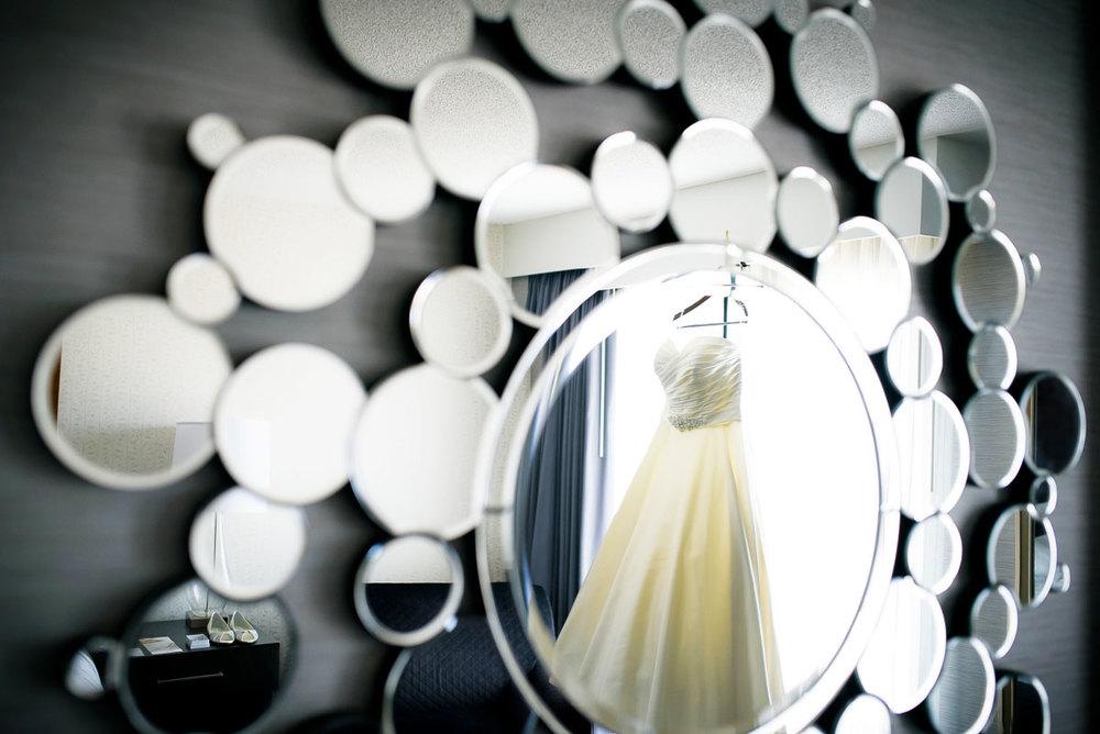 Wedding dress detail photo at the DoubleTree Skokie.