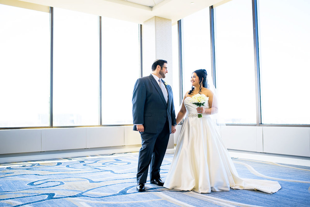 Bridal portrait on the top floor of the DoubleTree Skokie.