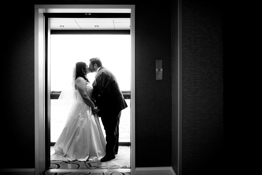 Post-ceremony creative wedding portrait at the DoubleTree Skokie.