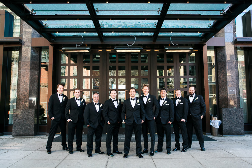 Groomsmen on the wedding outside the Thompson Chicago.