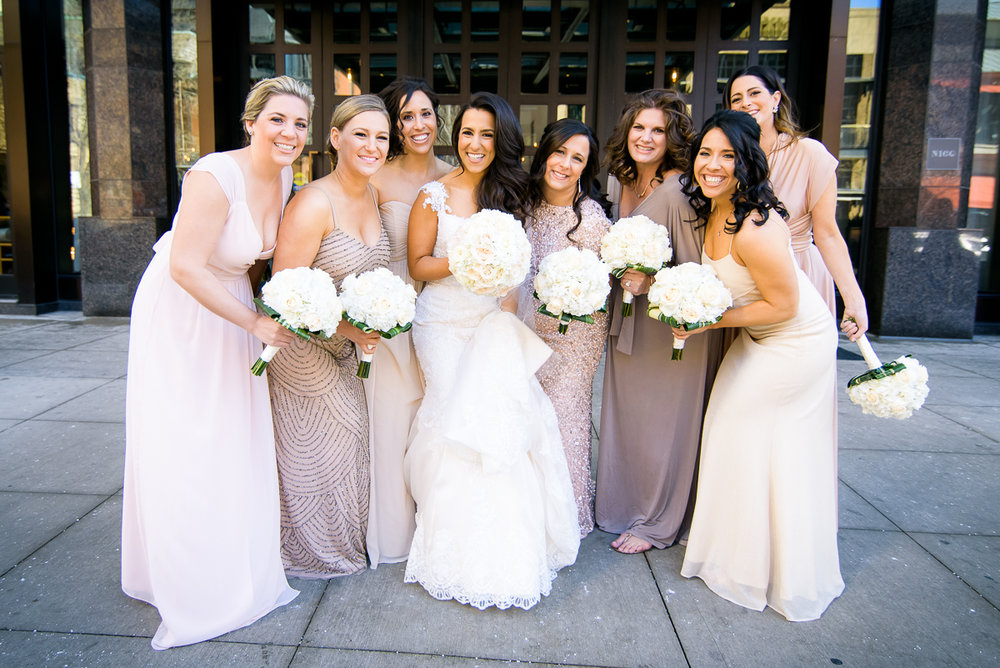 Bridesmaids on the wedding day outside the Thompson Chicago.