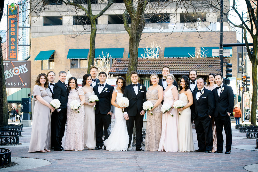 Bridal party photo in Mariano Park.