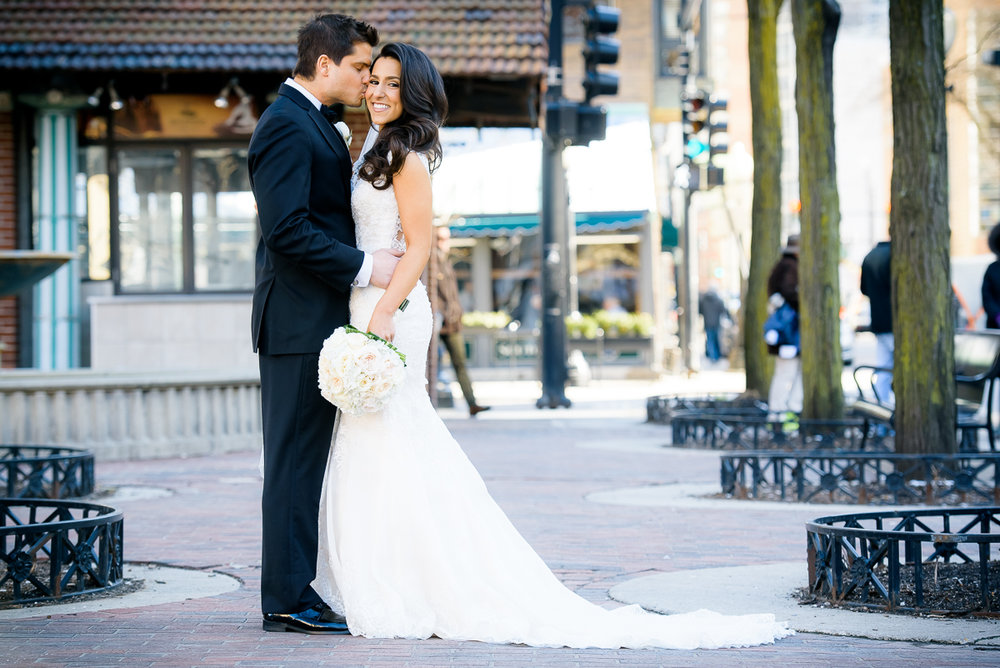 Fine art wedding portrait in Mariano Park in the Gold Coast Chicago.