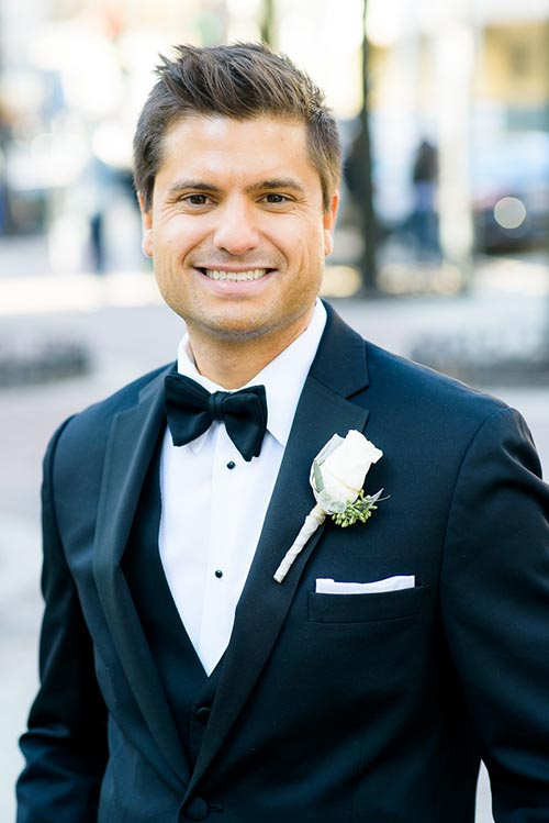 Fine art portrait of the groom in Mariano Park in the Gold Coast Chicago.