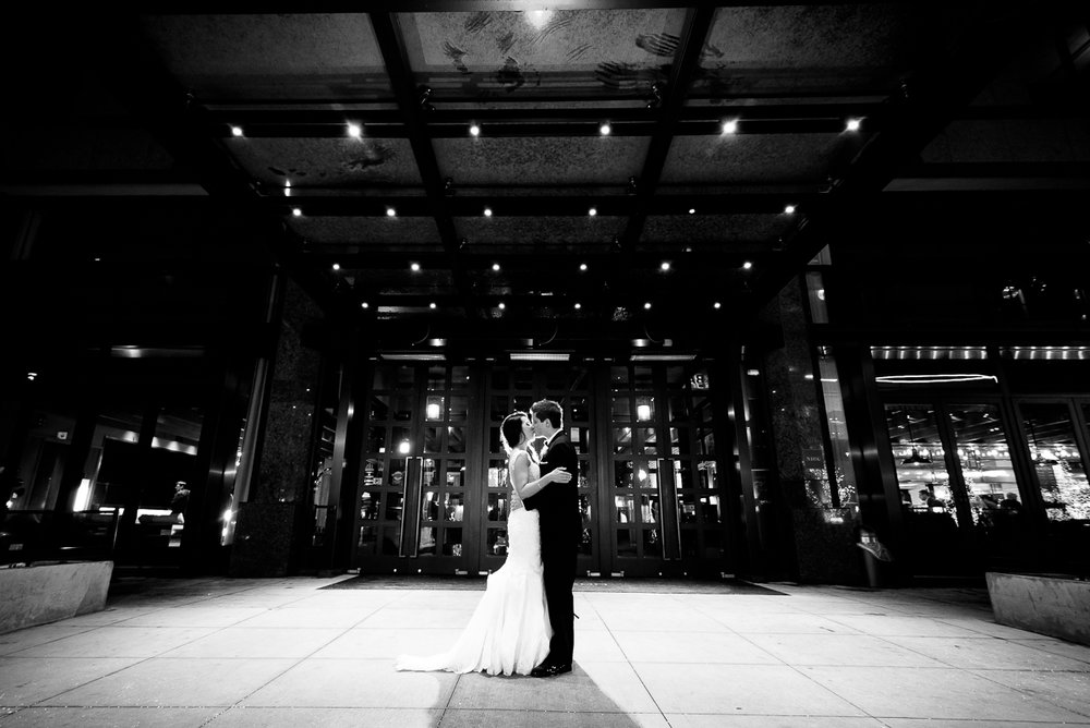 Night wedding portrait outside the Thompson Chicago.