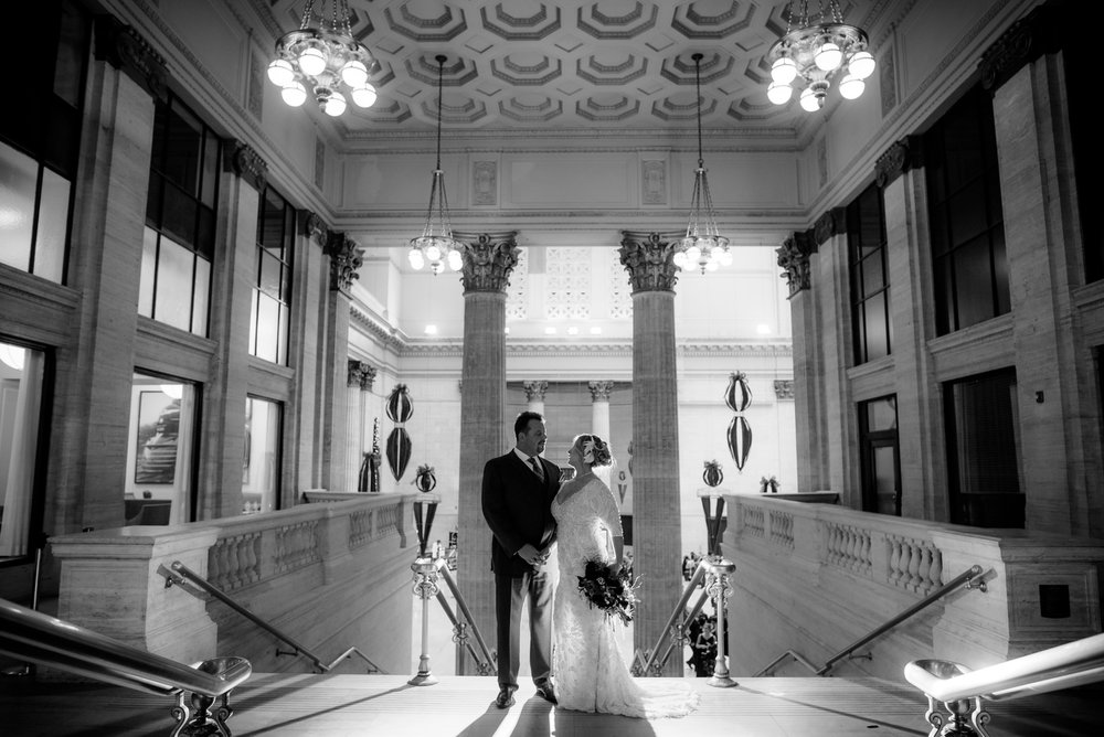 Bride & groom fine art wedding portrait at Union Station Chicago.