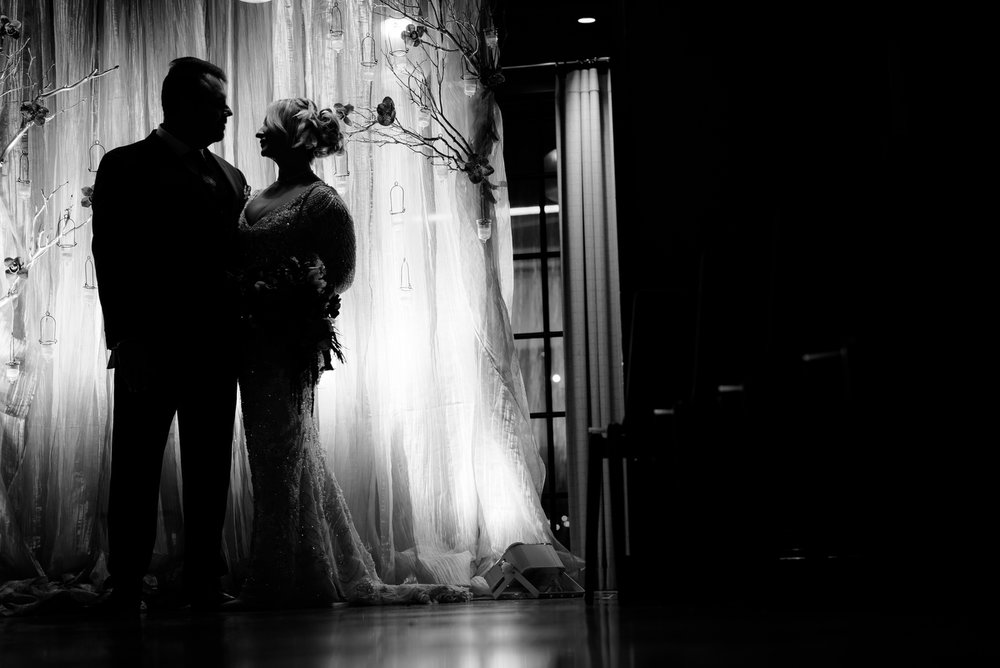 Fine art wedding photo of bride & groom at the Thompson Chicago.