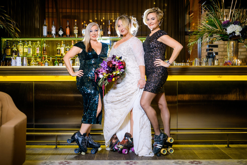 Fun bridal party photo of former Windy City Rollers before the wedding at the Thompson Chicago.