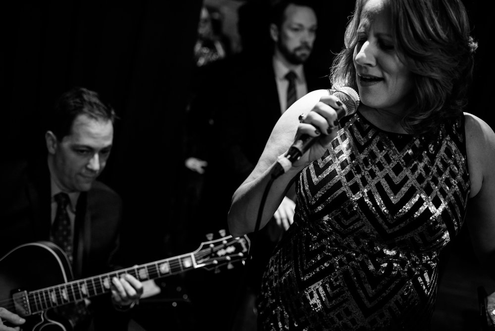 Wedding band during cocktail during a New Year's Eve Thompson Chicago wedding.