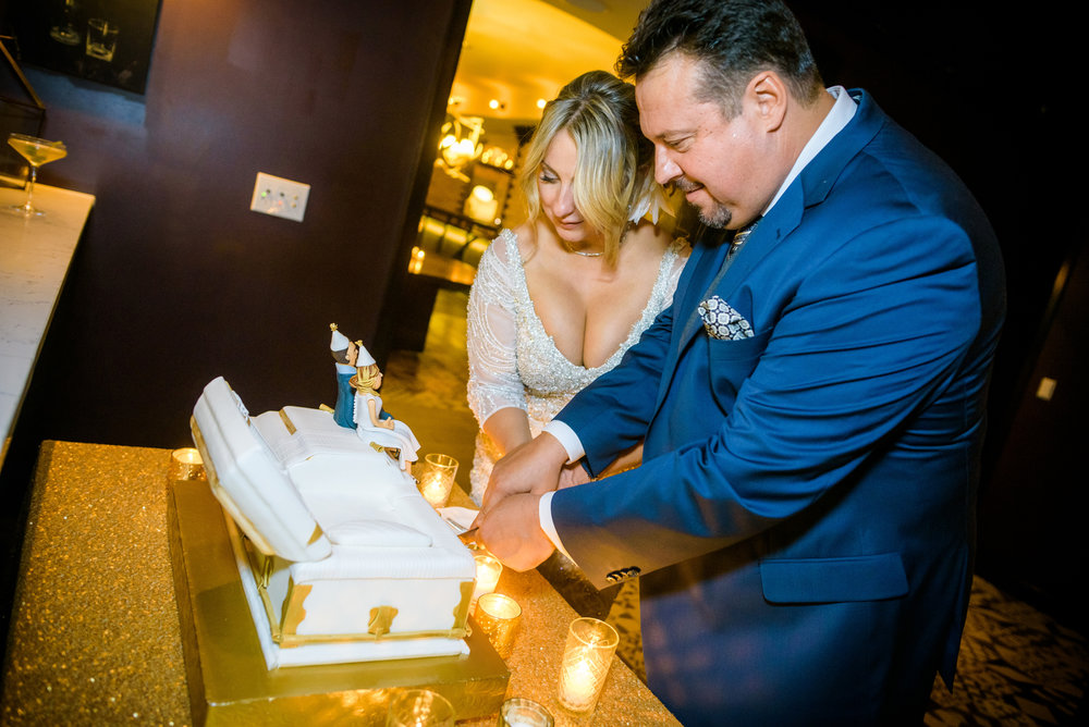 Casket cake cutting at the Thompson Chicago on New Year's Eve.