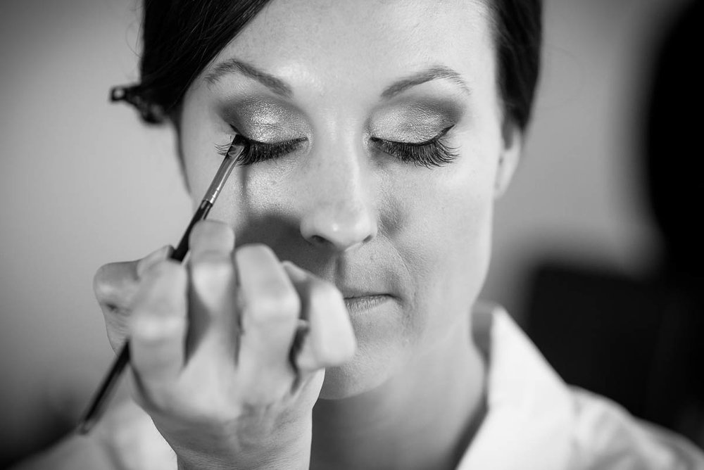 Bride getting ready before her wedding at Moonlight Studios Chicago.