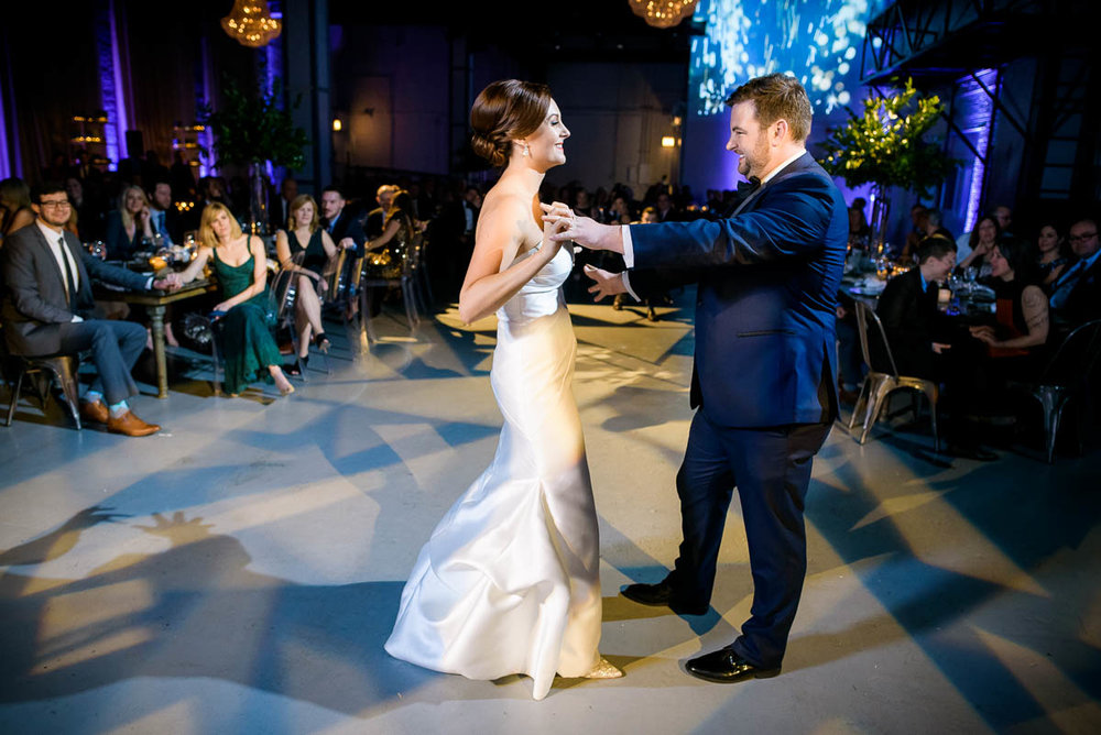 Bride & groom first dance at Moonlight Studios Chicago.