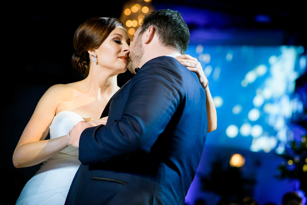 Couple's first dance during their wedding reception at Moonlight Studios Chicago.