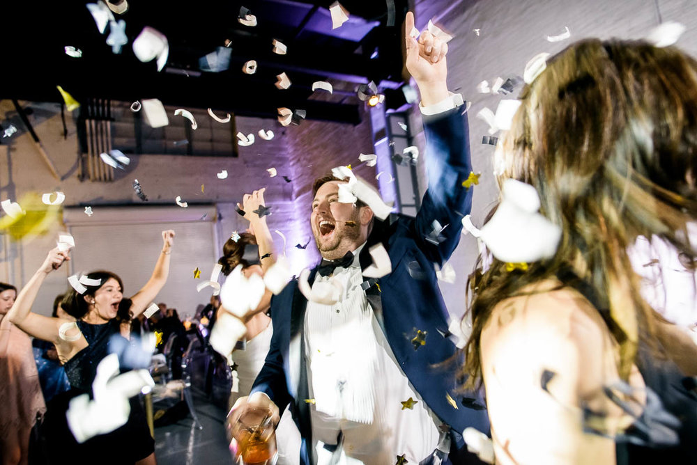 Confetti at a Moonlight Studios Chicago wedding reception.