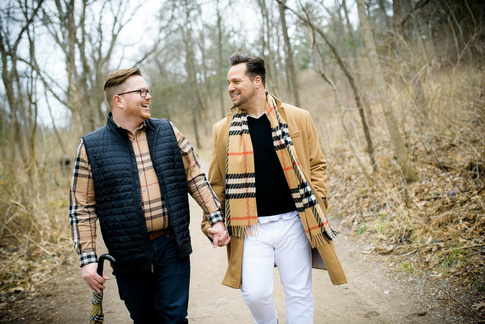 Same sex gay engagement session at Starved Rock State Park Illinois.