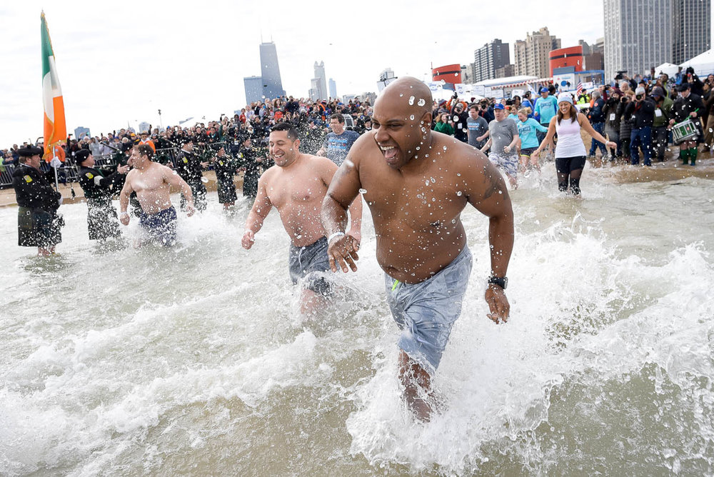 "2017 Chicago Polar Plunge at North Avenue Beach with ""Chicago Fire."""