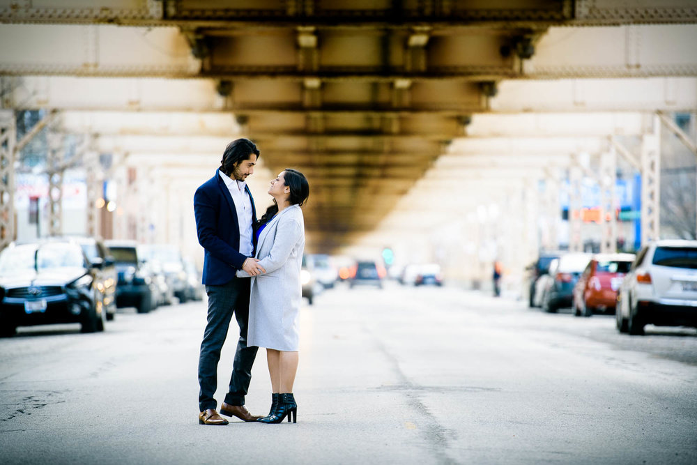 Creative, fun, moment-driven engagement photos in Fulton Market Chicago.