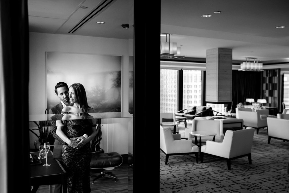 Chicago engagement session on the top floor of the Langham.