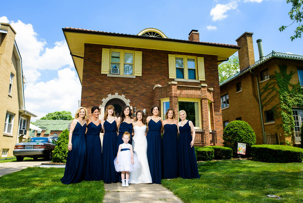 Bridesmaids in Beverly, Chicago before the wedding ceremony.