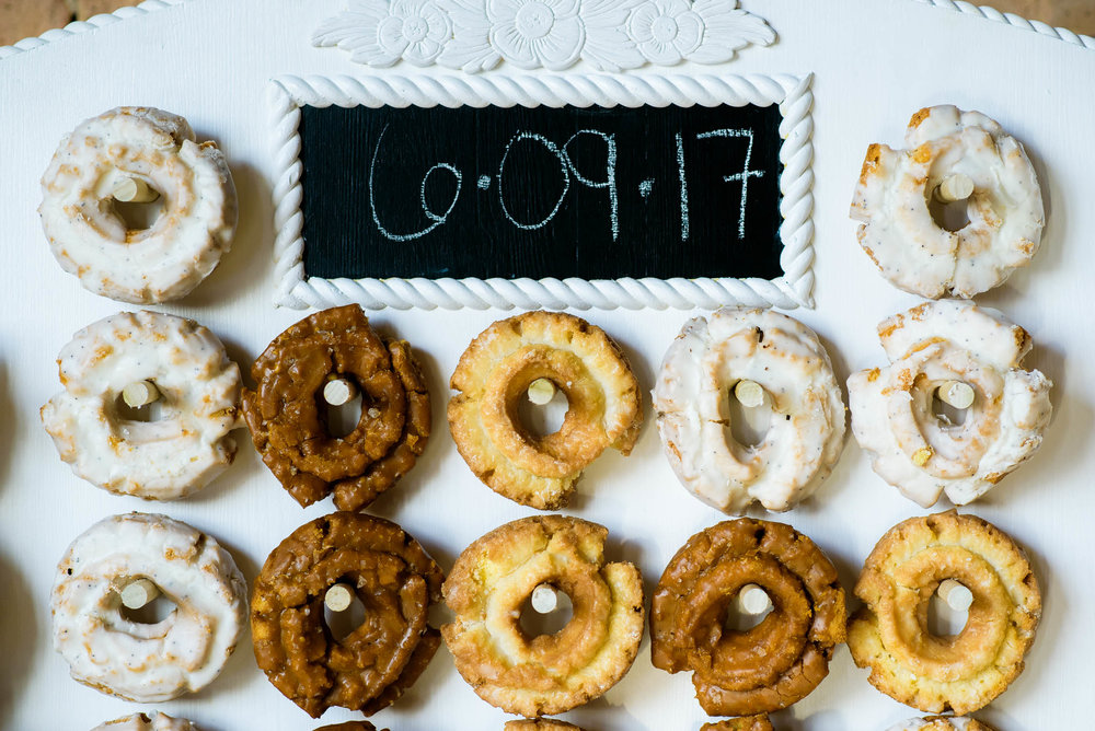 Wall of donuts by Food For Thoughts at the Bridgeport Art Center wedding in Chicago.