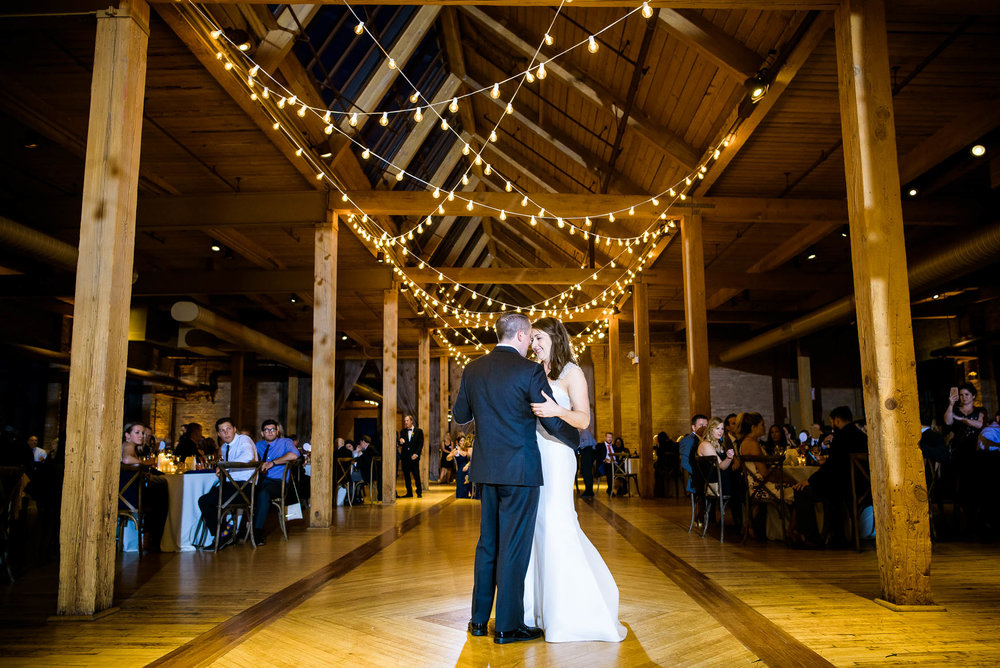 The couple's first dance during their Bridgeport Art Center wedding in Chicago.