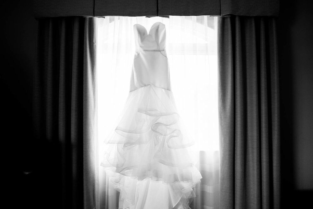 Wedding dress before the reception at Independence Grove in Libertyville.