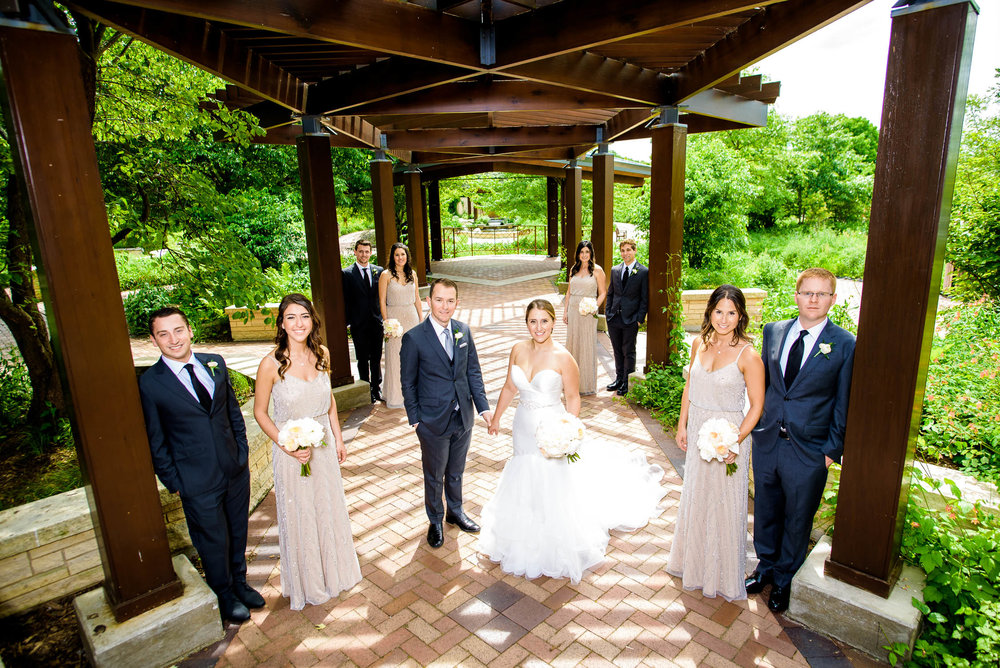 Bridal party photo before a wedding at Independence Grove in Libertyville.