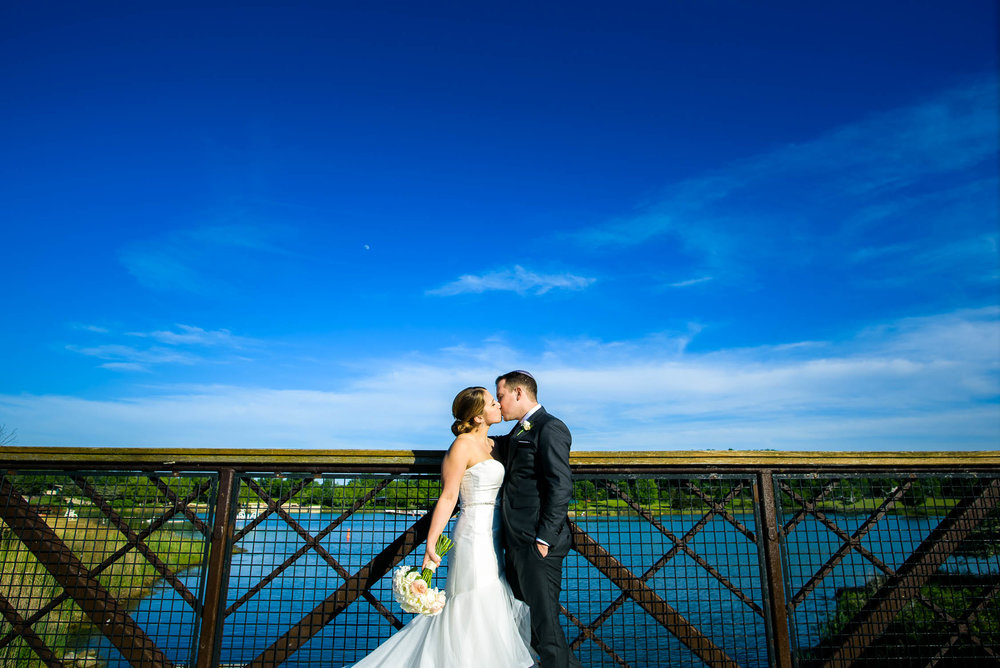 Creative wedding photo at Independence Grove in Libertyville.