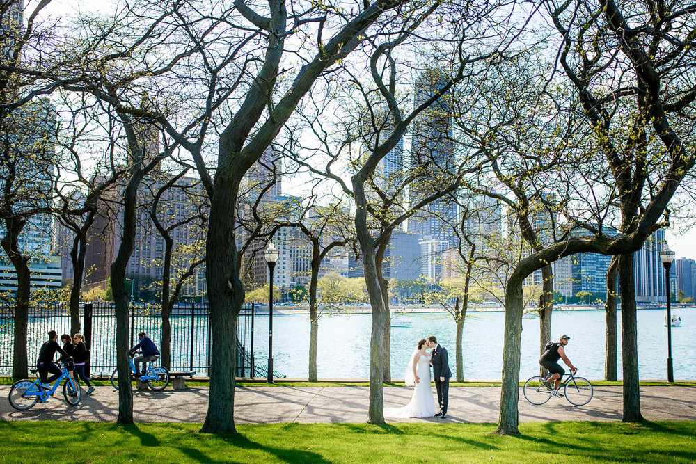 Bride and groom at Olive Park during their Chicago wedding.