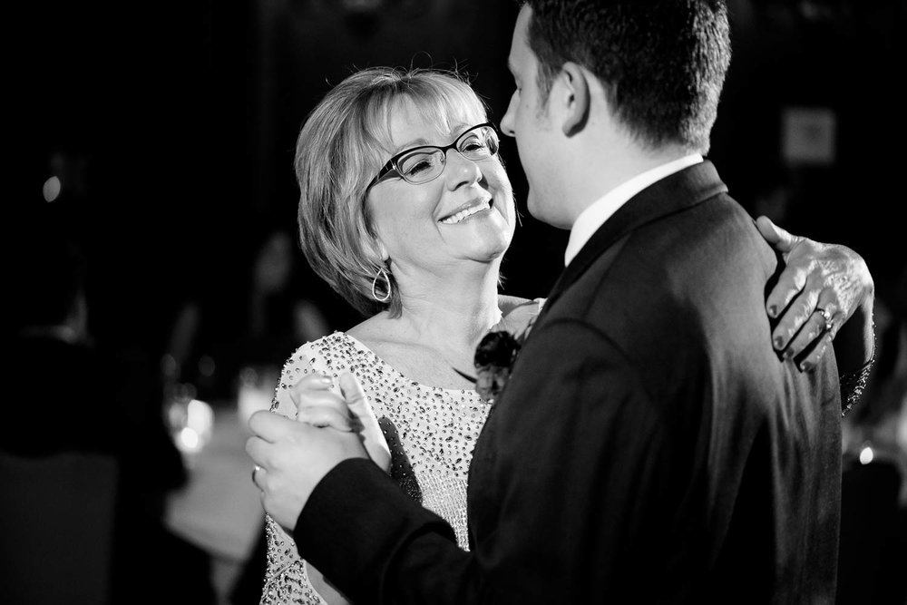 Mother-son dance during a University Club of Chicago wedding.
