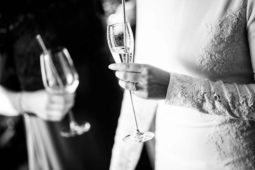 Champagne while getting ready at the Waldorf Astoria during a MCA Chicago winter wedding.