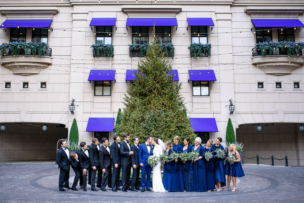 Wedding party portrait outside the Waldorf Astoria during a MCA Chicago winter wedding.