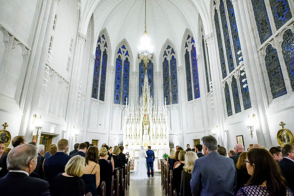Winter Chicago wedding ceremony at St. James Chapel.