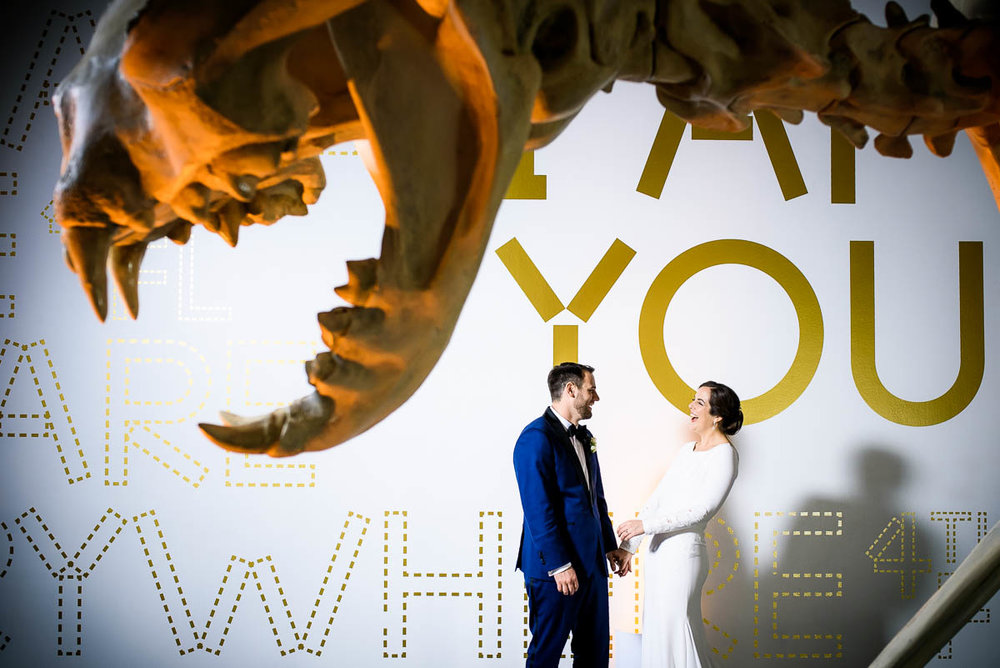 Fun creative wedding portrait at the MCA Chicago.