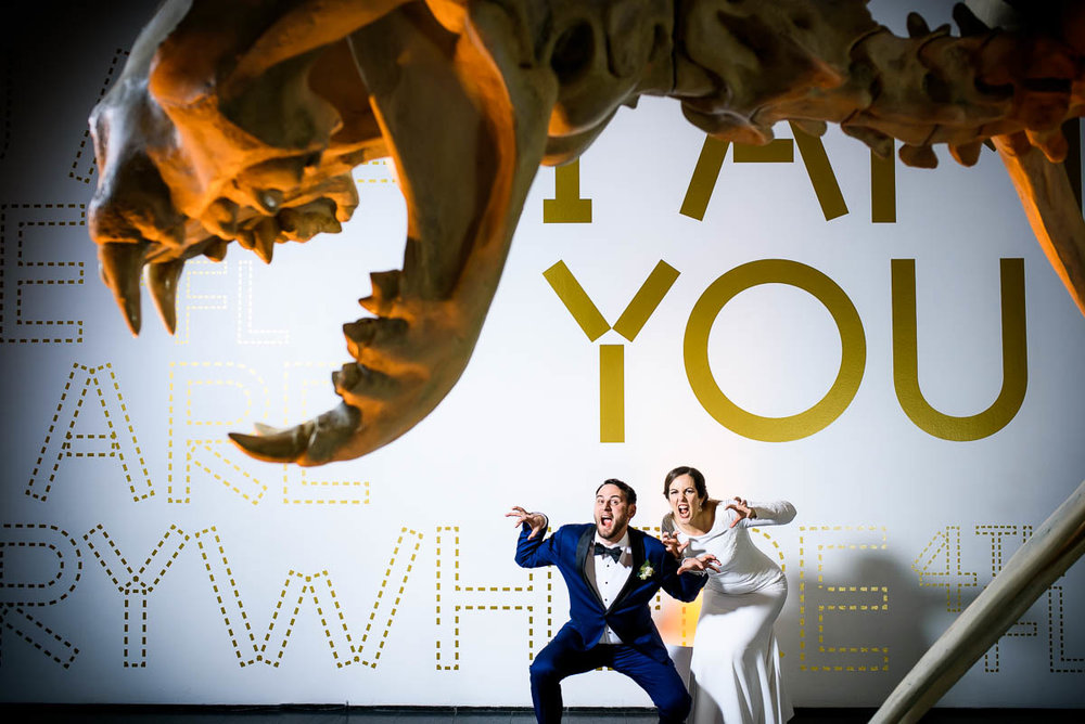 Bride & groom goofing off for a fun and creative wedding portrait at the MCA Chicago.