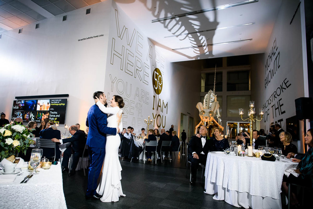 First dance during a winter wedding at the MCA Chicago.