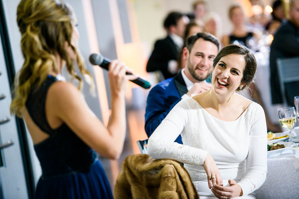 Maid-of-honor speech during a winter wedding at the MCA Chicago.