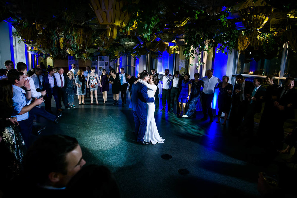 Bride & groom during the last dance for their winter wedding at the MCA Chicago.
