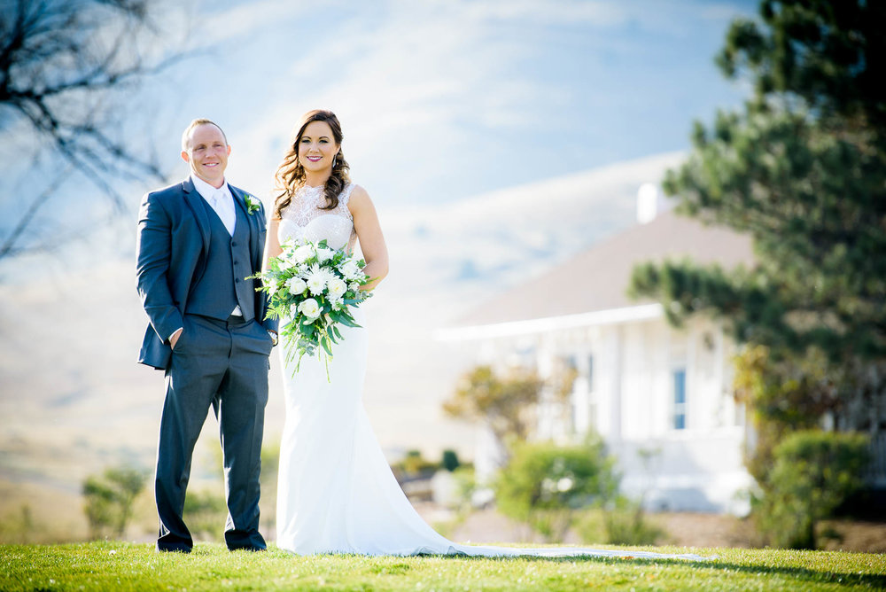Wedding portrait of the couple at the Manor House in Littleton, Colorado.