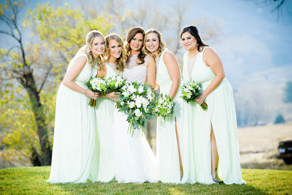Bridesmaids on the wedding day at the Manor House in Littleton, Colorado.