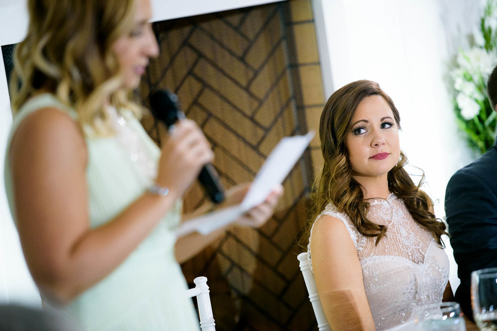 Maid-of-honor speech during a wedding at the Manor House in Littleton, Colorado.